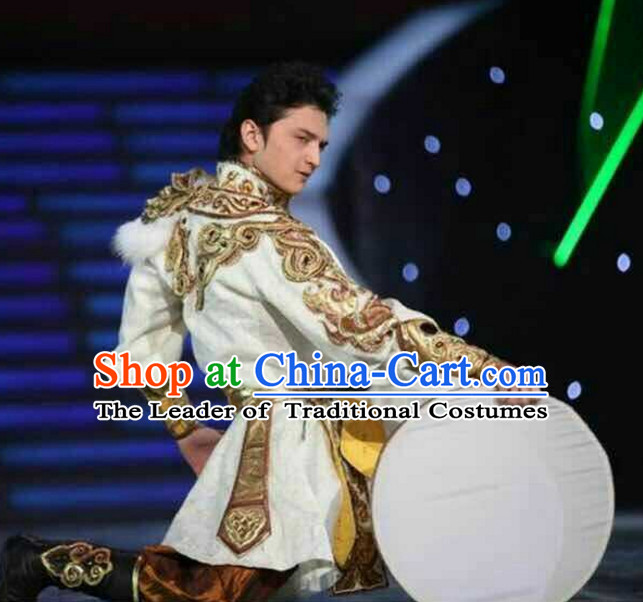 Chinese Traditional Fan Dance Costumes Customized Dance Dresses Dancing Wear Complete Set for Men