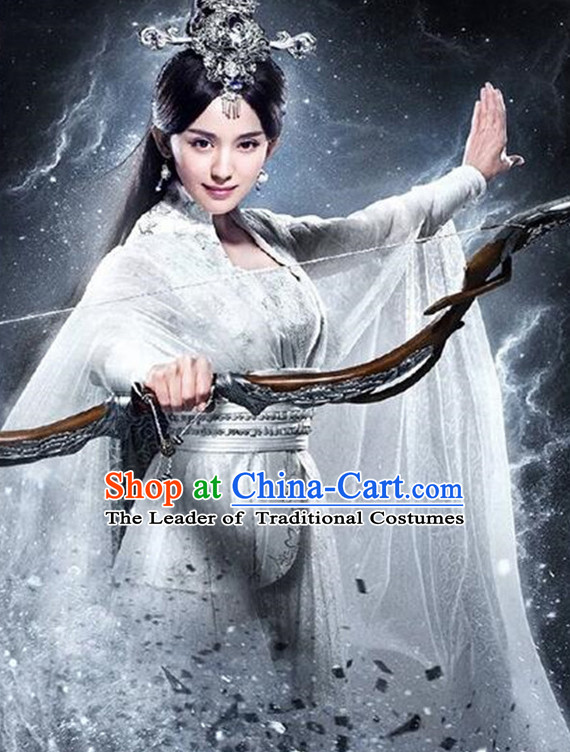 Chinese Ancient Women's Clothing _ Apparel Chinese Traditional Dress Theater and Reenactment Costumes and Hat Complete Set