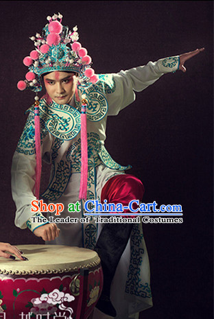 Beijing Opera Peking Opera Costumes Embroidered Robe and Hat Helmet Complete Set for Women