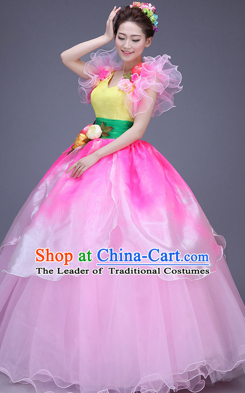 Chinese Lotus Flower Dance Costume Dance Costumes Fan dance Umbrella Ribbon Fans Water Sleeve Dancer Dancing Costumes Complete Set
