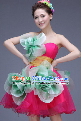 Chinese Jasmine Flower Dance Costume Dance Costumes Fan dance Umbrella Ribbon Fans Water Sleeve Dancer Dancing Costumes Complete Set