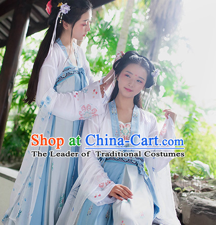 Chinese Traditional Hanfu Dress Ancient Chinese Lady Costumes and Headpieces Complete Set for Women Girl