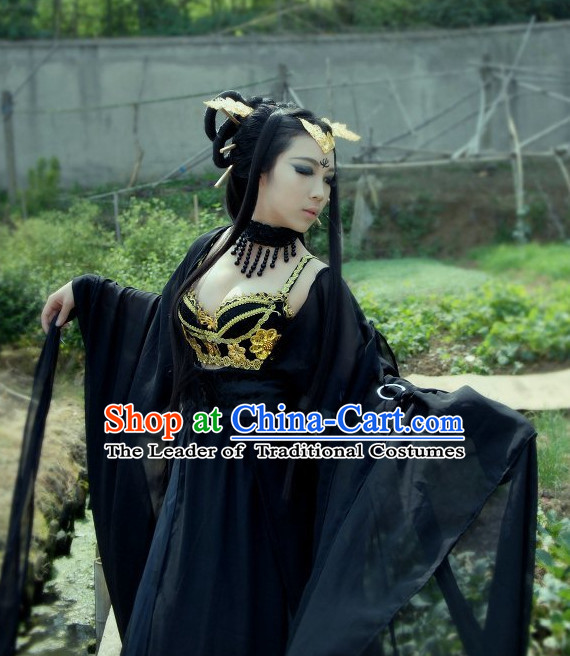 Top Black Chinese Imperial Royal Princess Traditional Wear Queen Dresses Fairy Cosplay Costumes Ideas Asian Cosplay Supplies and Hair Accessories Complete Set