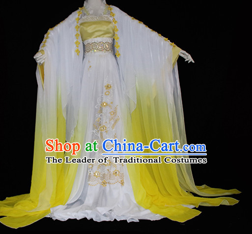 Top Yellow Chinese Imperial Royal Princess Traditional Wear Queen Dresses Fairy Cosplay Costumes Ideas Asian Cosplay Supplies Complete Set