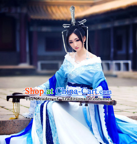 Blue Ancient China Princess Garment Traditional Imperial Queen Costumes High Quality Chinese Empress National Costumes and Accessories Complete Set for Women