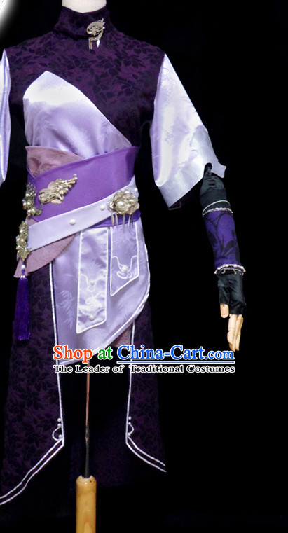 Purple Ancient Chinese Warrior Halloween Costume Hanfu Costumes High Quality Chinese National Costumes Complete Set for Men