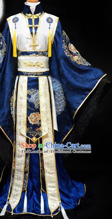 Blue Ancient Chinese Warrior Emperor Costume Hanfu Costumes High Quality Chinese National Costumes Complete Set for Men