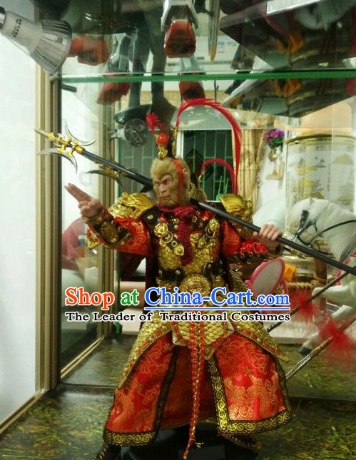 Ancient Chinese Sun Wukong Costume National Costumes and Headpieces Complete Set for Men