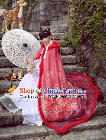 Top Chinese Ancient Princess Dresses Theater and Reenactment Costumes Cape Mantle Complete Set for Women Girls