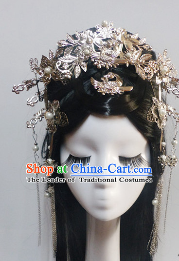 Chinese Classic Princess Fairy Long Black Wigs and Headwear Crowns Hats Headpiece Hair Accessories Jewelry Set