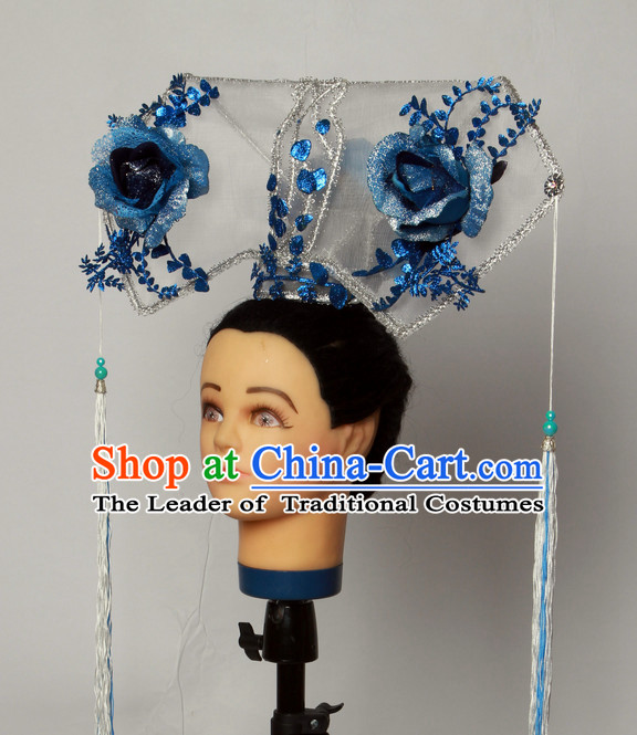 Handmade Chinese Model Stage Performance Manchu Princess Hair Decorations Headpieces for Women