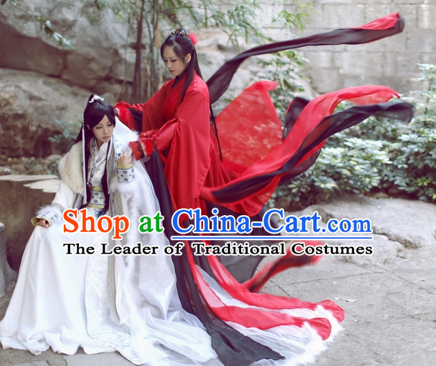 Top Chinese Beauty Swordswoman Costumes Theater and Reenactment Costumes and Headgear Complete Set for Women