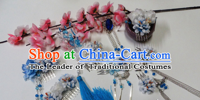 Blue Chinese Classical Fairy Headwear Crowns Hats Headpiece Hair Accessories Jewelry Set