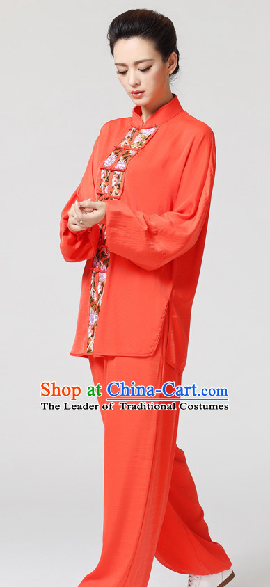 Orange Chinese Kung Fu Tai Chi Wushu Shaolin Uniform Wudang Uniforms Wu Shu Nanquan Kungfu Changquan Costume Uniform Martial Arts Tai Chi Taiji Uniforms