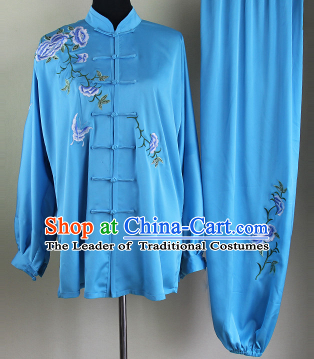 Blue Chinese Kung Fu Tai Chi Wushu Shaolin Uniform Wudang Uniforms Wu Shu Nanquan Kungfu Changquan Costume Uniform Martial Arts Tai Chi Taiji Uniforms