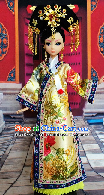 Traditional Qing Dynasty Chinese Women Clothing Imperial Princess Dresses National Costume and Hair Ornaments Complete Set