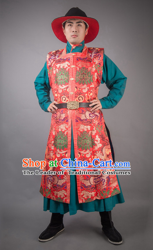 Chinese Ming Dynasty General Han Fu Costumes Men Hero Clothing Male Costume and Hat Complete Set