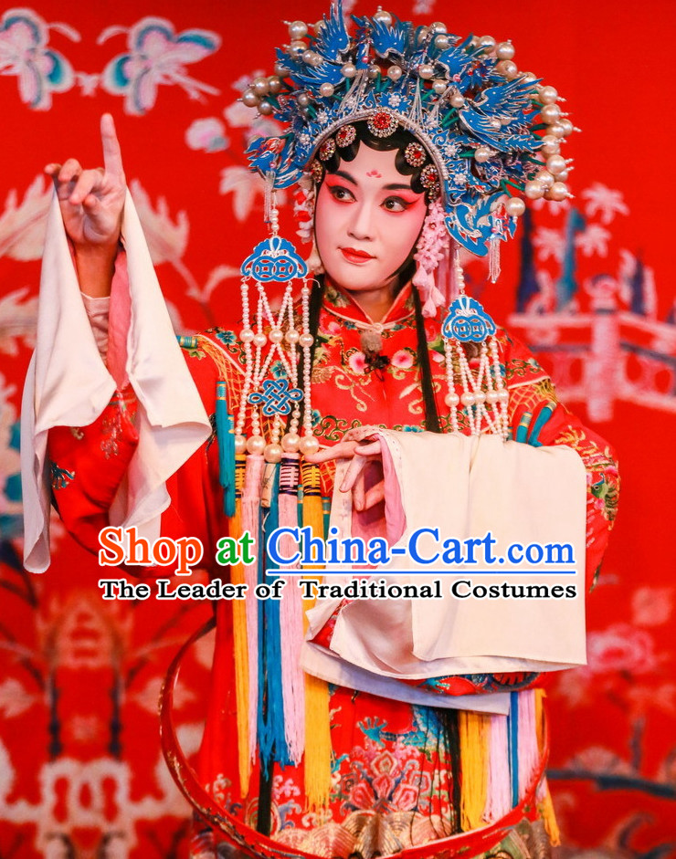 Chinese Beijing Opera Princess Wedding Phoenix Robe and Phoenix Coronet Complete Set for Women