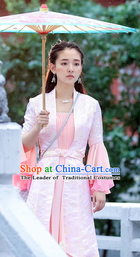 Chinese Ancient Female Hero Costumes and Headpieces Complete Set for Women