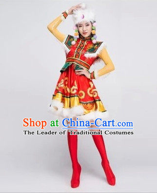 Chinese Mongolian Minority Dance Dress China Fan Dance Costume Ribbon Dance Costumes Folk Dance Suit