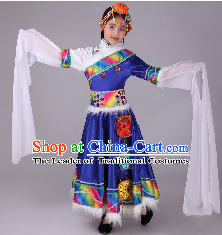 Chinese Tibetan Kids Minority Dance Dress China Fan Dance Costume Ribbon Dance Costumes Folk Dance Suit