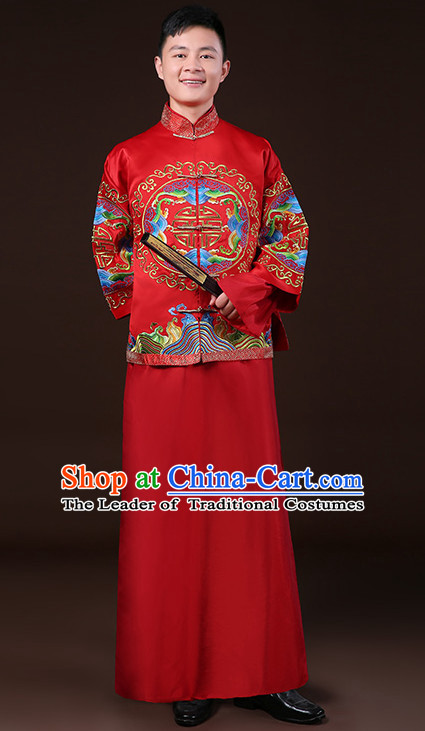 Top Traditional Chinese Embroidered Wedding Dresses Wedding Gowns for Bridegrooms