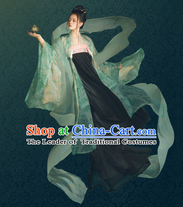 Chinese Traditional Tang Dynasty Royal Stage Hanfu Hanbok Kimono Feitian Costume Dresses Costume Ancient Fairy Garment Complete Set