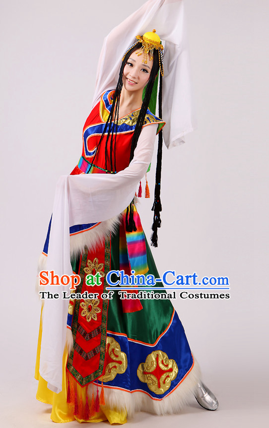 Chinese Folk Mongolian Dance Costume and Hat Complete Set for Women