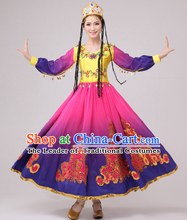 Chinese Folk Xinjiang Dance Costume and Hat Complete Set for Women