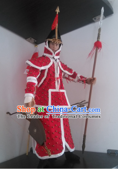 Red Chinese Qing Dynasty General White Armor Hanfu Dress Gown Costumes Ancient Costume Clothing Complete Set