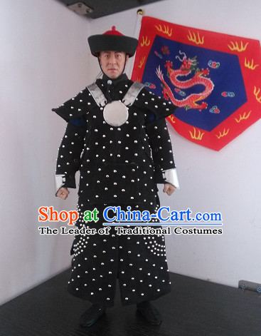 Chinese Classical Qing General Body Armor Hanfu Dress Gown Costumes Ancient Costume Clothing Complete Set