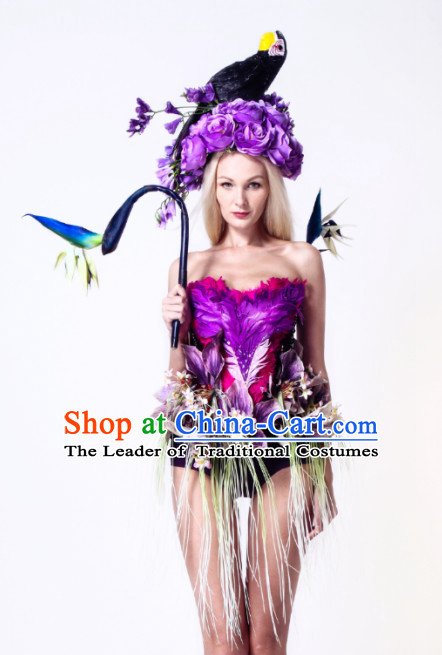 Parade Quality Forest Dance Costumes Popular Ostrich Feathers Fancy Costume Angel Wings Costume Complete Set