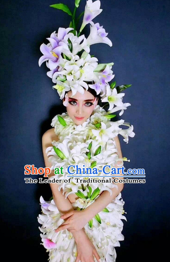 Parade Quality Flower Dance Costumes Popular Ostrich Feathers Fancy Costume Angel Wings Costume Complete Set
