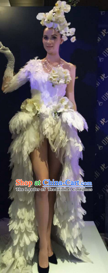 Parade Quality Feather Dance Costumes Popular Ostrich Feathers Fancy Costume Angel Wings Costume Complete Set