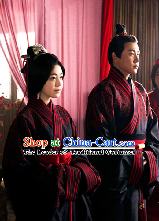 Chinese Ancient Traditional Wedding Dresses Complete Sets for Brides and Bridegroom