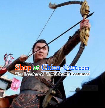 Chinese Ancient Archer Body Armor Costumes Adult Size Dresses and Headwear Complete Set for Men