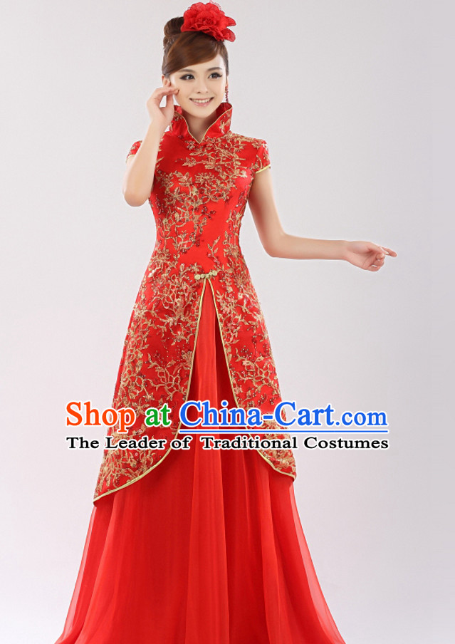 Chinese Traditional Long Evening High Collar Red Dress