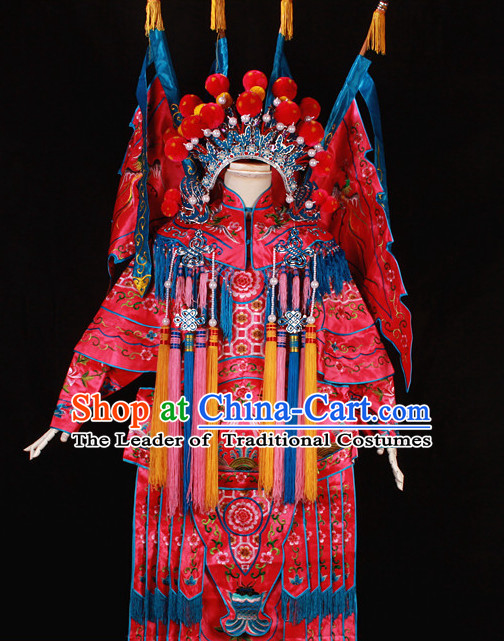 Red China Beijing Opera Chinese Peking Opera Costume Embroidered Robe Hua Military General Dan Opera Costumes Complete Set