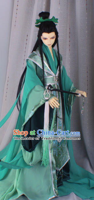 Ancient Chinese Emperor Men Costumes Palace Clothing Green Hanfu Traditional Costumes Complete Set