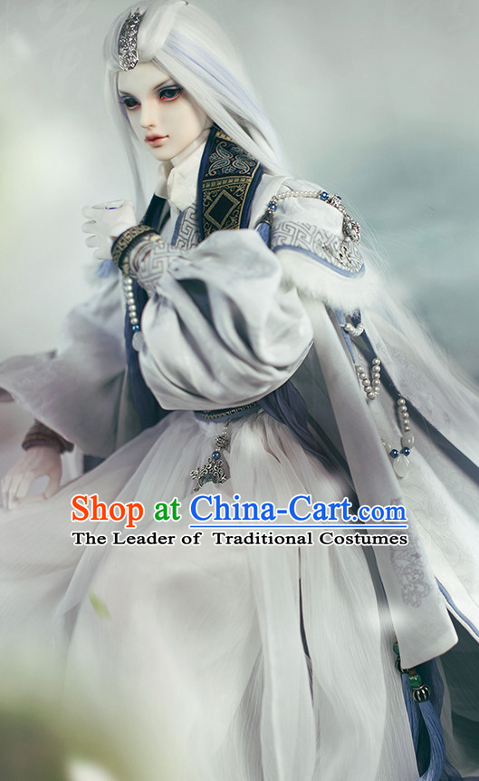 Ancient Chinese Emperor Men Costumes Palace Clothing Traditional Costumes White Hanfu Complete Set