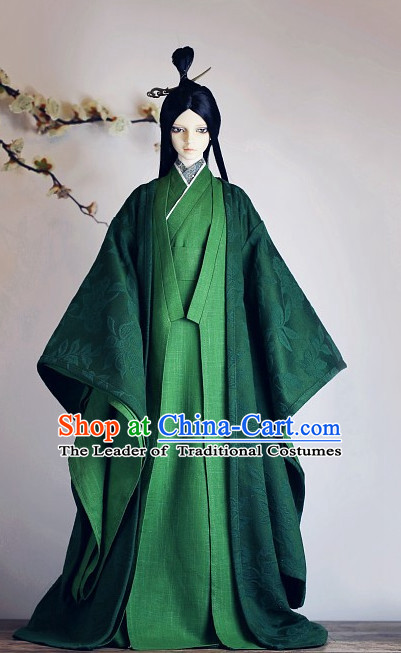 Ancient Chinese Prince Costumes Clothing Traditional Costumes Green Hanfu Complete Set
