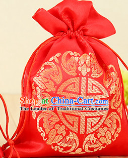 Red Traditional Chinese Lucky Fabric Bags 100 Pieces Set