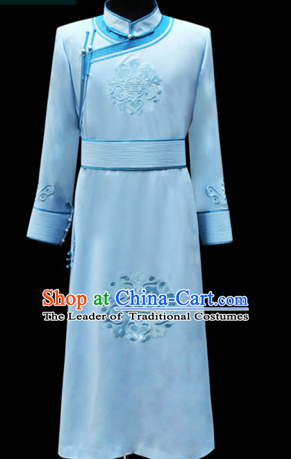 Chinese Mongolian Minority Emperor Mongol Long Robe Mongolia Prince Clothing Ethnic Traditional Costumes Complete Set