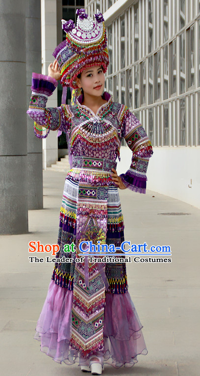 Hmong Women Minority Dresses Miao Girls Clothing Ethnic Miao Minority Dance Costume Minority Dress Dance Miao Costumes Complete Set