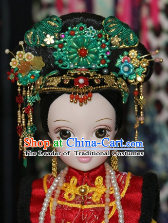 Traditional Chinese Women Qing Empress Headpiece Princess Headdress Palace Hair Decorations Royal Hair Sticks Head Gear Hair Decoration Set
