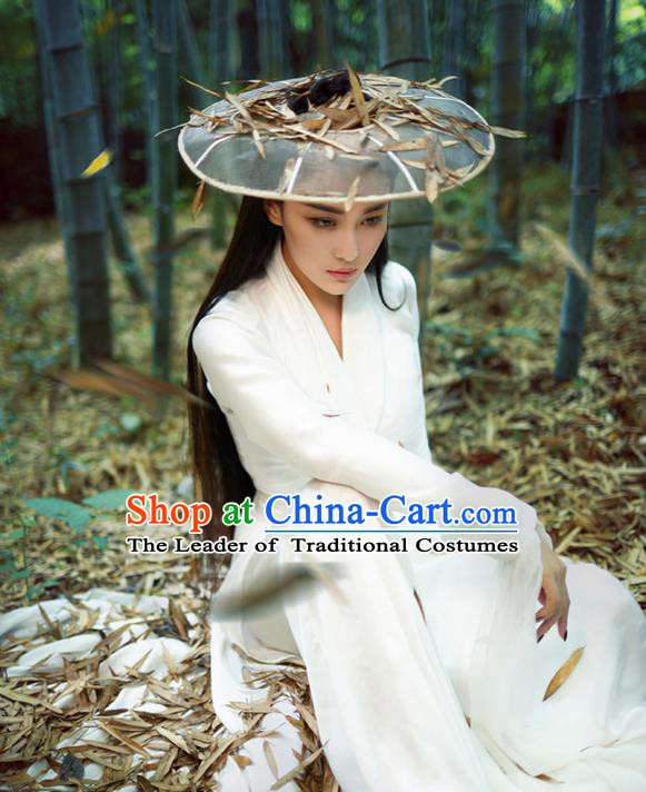 Traditional Chinese Acient Swordswoman Hats, Cosplay Swordswomen Mask Veil Headwear, Bamboo Hat for Women