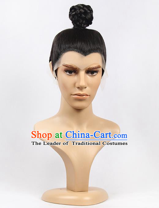 Chinese Ancient Swordsman Long Wig Set, Traditional Chinese Wig for Men
