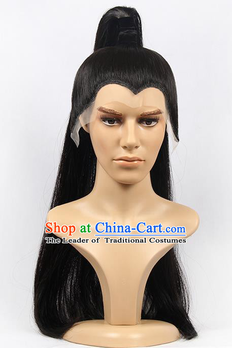Chinese Ancient Swordsman Long Wig Set, Traditional Chinese Wig Hoods for Men