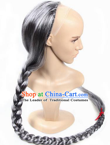 Chinese Ancient Swordsman Long Wig Set, Old Men Wig Set, Traditional Chinese Qing Dynasty Wig Hoods for Men