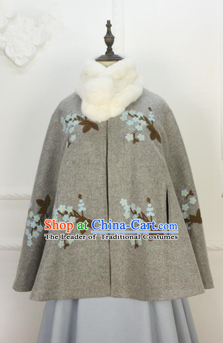 Traditional Classic Women Clothing, Traditional Classic Chinese Han Dynasty Woolen Cloak, Chinese Ancient Style Hanfu Embroidered Wool Cape for Women